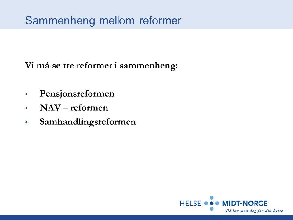Sammenheng mellom reformer Vi må se tre reformer i sammenheng: Pensjonsreformen NAV – reformen Samhandlingsreformen