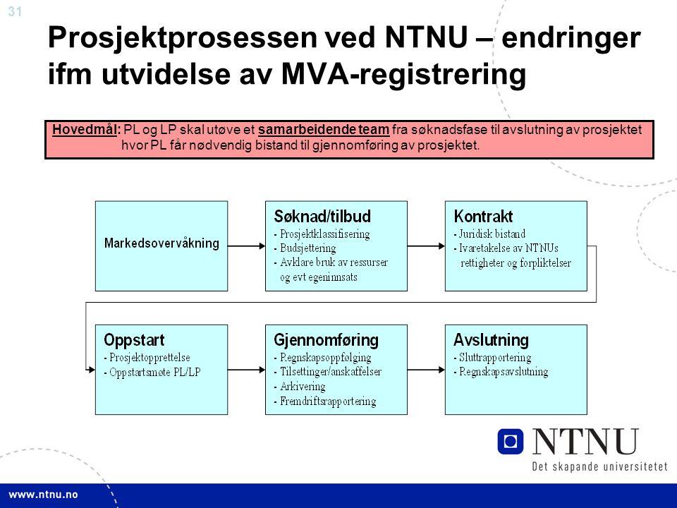 31 Prosjektprosessen ved NTNU – endringer ifm utvidelse av MVA-registrering Hovedmål: PL og LP skal utøve et samarbeidende team fra søknadsfase til avslutning av prosjektet hvor PL får nødvendig bistand til gjennomføring av prosjektet.