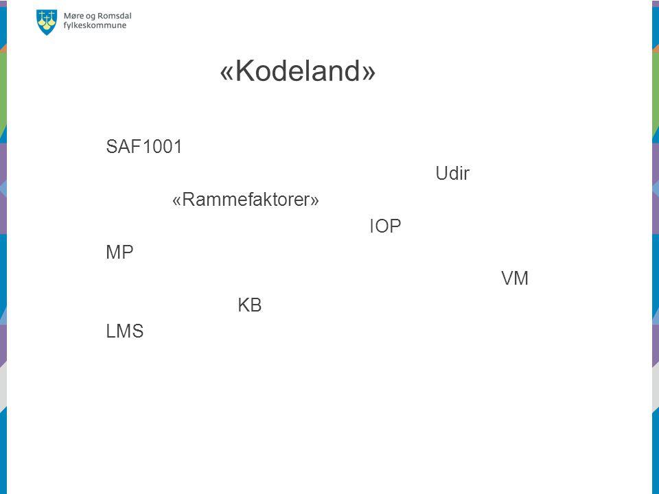 «Kodeland» SAF1001 Udir «Rammefaktorer» IOP MP VM KB LMS