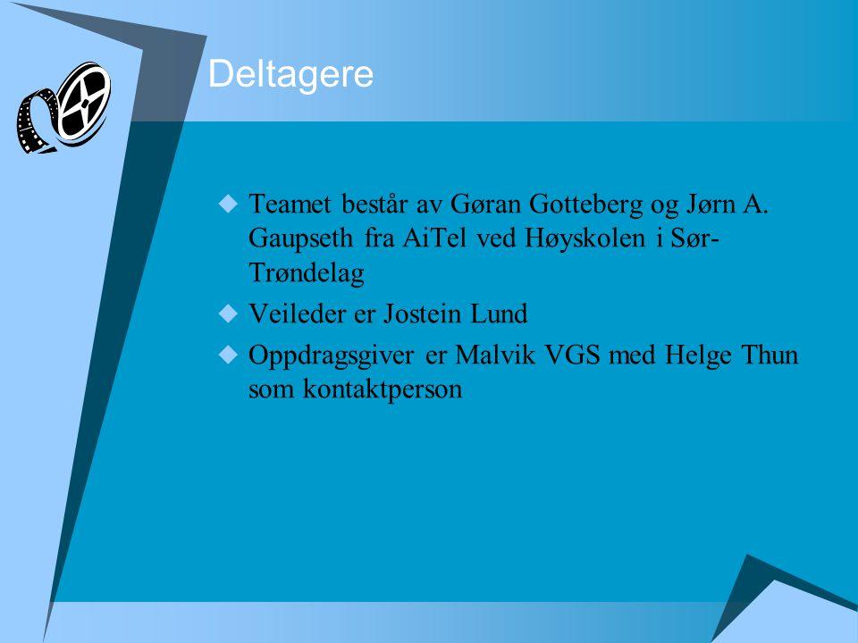Deltagere  Teamet består av Gøran Gotteberg og Jørn A. Gaupseth fra AiTel ved Høyskolen i Sør- Trøndelag  Veileder er Jostein Lund  Oppdragsgiver e
