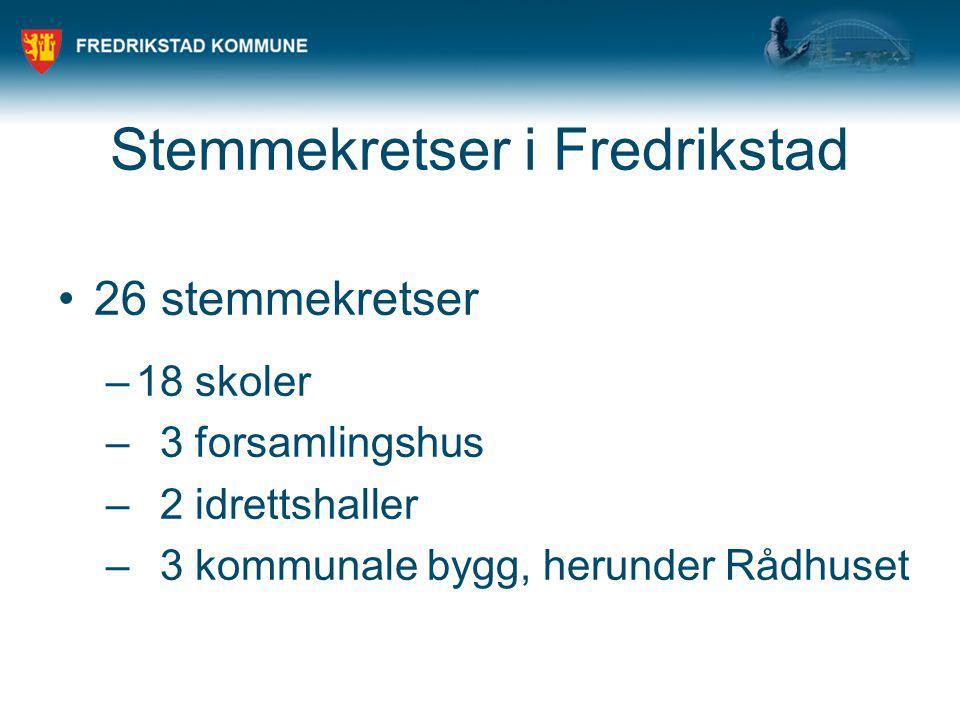 Stemmekretser i Fredrikstad 26 stemmekretser –18 skoler – 3 forsamlingshus – 2 idrettshaller – 3 kommunale bygg, herunder Rådhuset