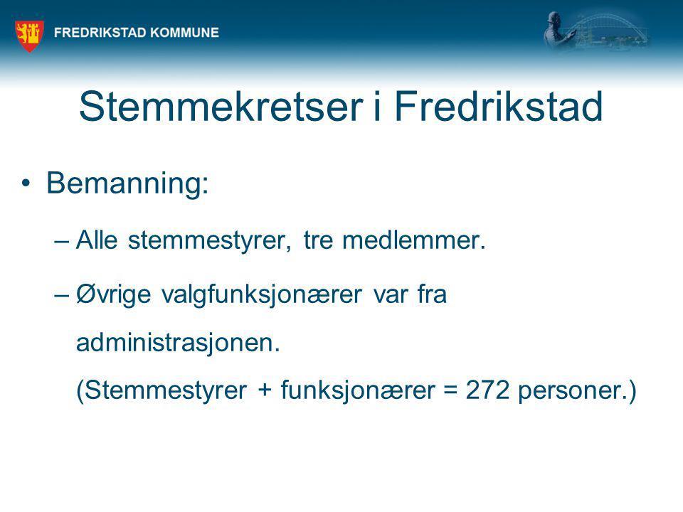 Stemmekretser i Fredrikstad Bemanning: –Alle stemmestyrer, tre medlemmer. –Øvrige valgfunksjonærer var fra administrasjonen. (Stemmestyrer + funksjonæ