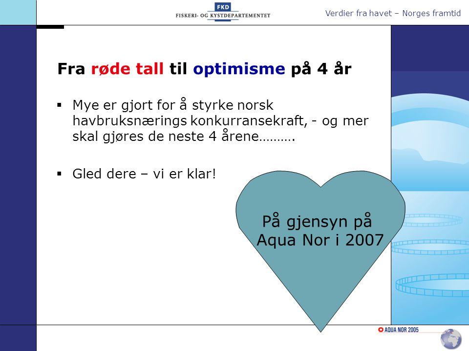 Verdier fra havet – Norges framtid Fra røde tall til optimisme på 4 år  Mye er gjort for å styrke norsk havbruksnærings konkurransekraft, - og mer skal gjøres de neste 4 årene……….