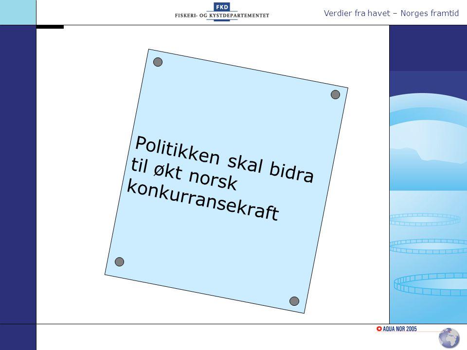 Verdier fra havet – Norges framtid Politikken skal bidra til økt norsk konkurransekraft