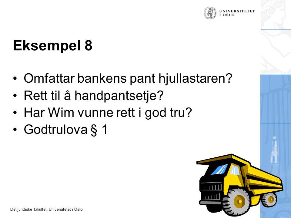 Det juridiske fakultet, Universitetet i Oslo Eksempel 8 Omfattar bankens pant hjullastaren? Rett til å handpantsetje? Har Wim vunne rett i god tru? Go