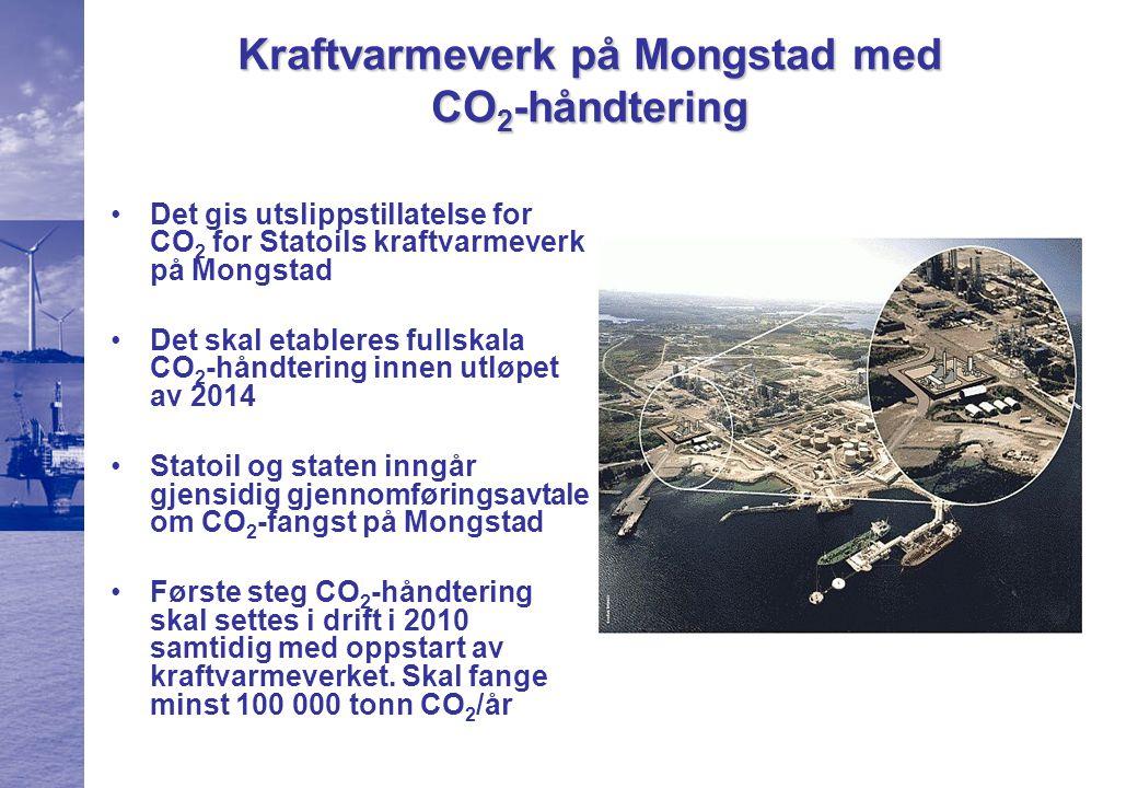 Kraftvarmeverk på Mongstad med CO 2 -håndtering Det gis utslippstillatelse for CO 2 for Statoils kraftvarmeverk på Mongstad Det skal etableres fullskala CO 2 -håndtering innen utløpet av 2014 Statoil og staten inngår gjensidig gjennomføringsavtale om CO 2 -fangst på Mongstad Første steg CO 2 -håndtering skal settes i drift i 2010 samtidig med oppstart av kraftvarmeverket.