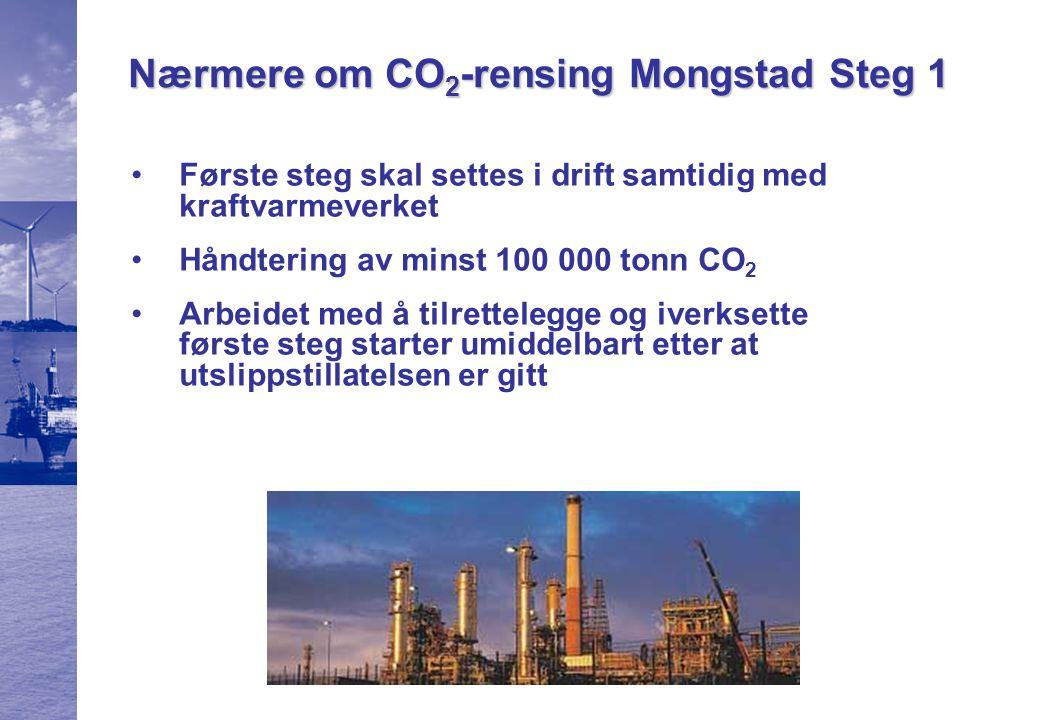 Nærmere om CO 2 -rensing Mongstad Steg 1 Gjennomføringen av første steg er avtalt i avtalen mellom Olje- og energidepartementet og Statoil Innen utløpet av 2006 etableres et teknologiselskap/- partnerskap eid av staten og Statoil.