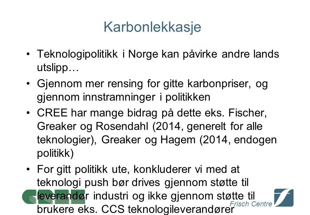 Frisch Centre Karbonlekkasje Teknologipolitikk i Norge kan påvirke andre lands utslipp… Gjennom mer rensing for gitte karbonpriser, og gjennom innstramninger i politikken CREE har mange bidrag på dette eks.