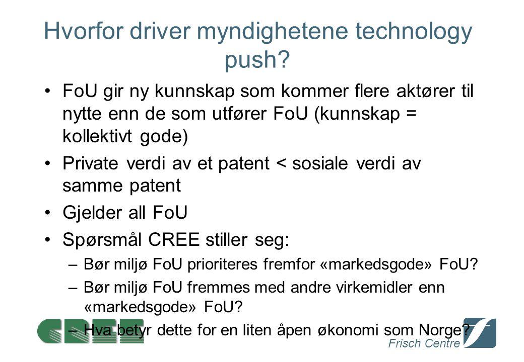 Frisch Centre Hvorfor driver myndighetene technology push? FoU gir ny kunnskap som kommer flere aktører til nytte enn de som utfører FoU (kunnskap = k