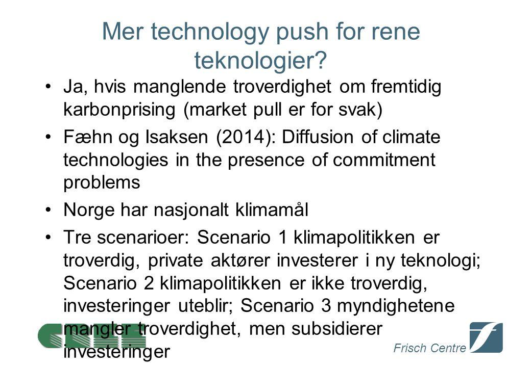 Frisch Centre Mer technology push for rene teknologier? Ja, hvis manglende troverdighet om fremtidig karbonprising (market pull er for svak) Fæhn og I