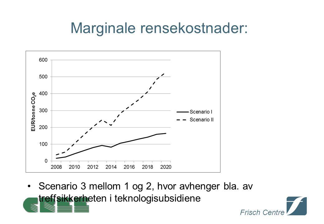 Frisch Centre Marginale rensekostnader: Scenario 3 mellom 1 og 2, hvor avhenger bla. av treffsikkerheten i teknologisubsidiene