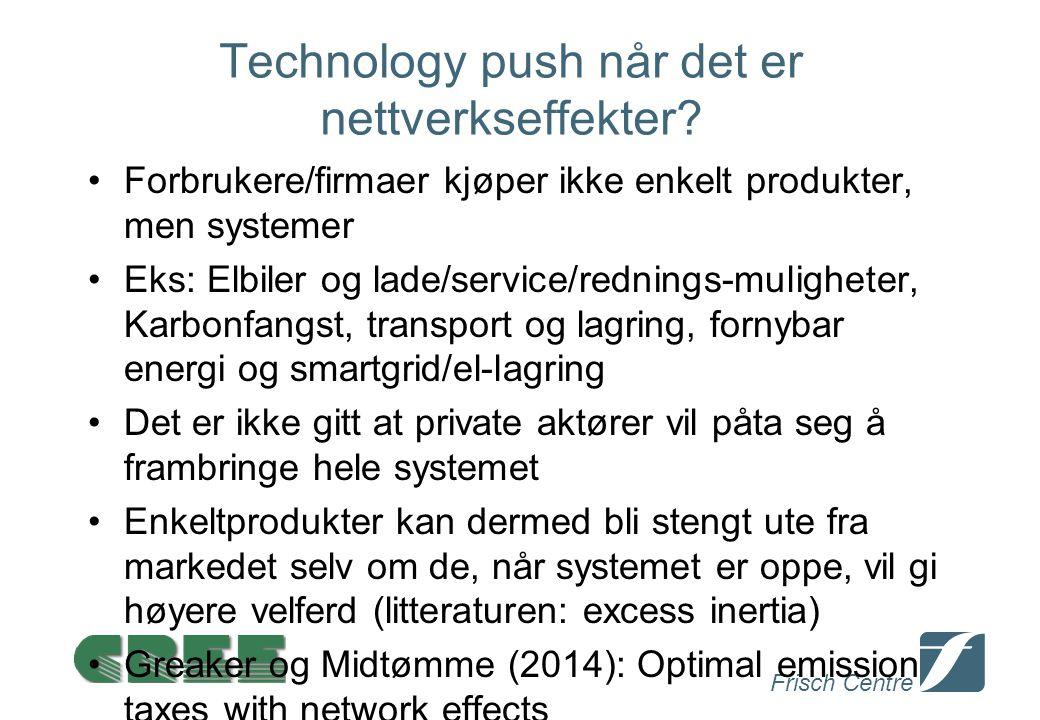 Frisch Centre Technology push når det er nettverkseffekter? Forbrukere/firmaer kjøper ikke enkelt produkter, men systemer Eks: Elbiler og lade/service
