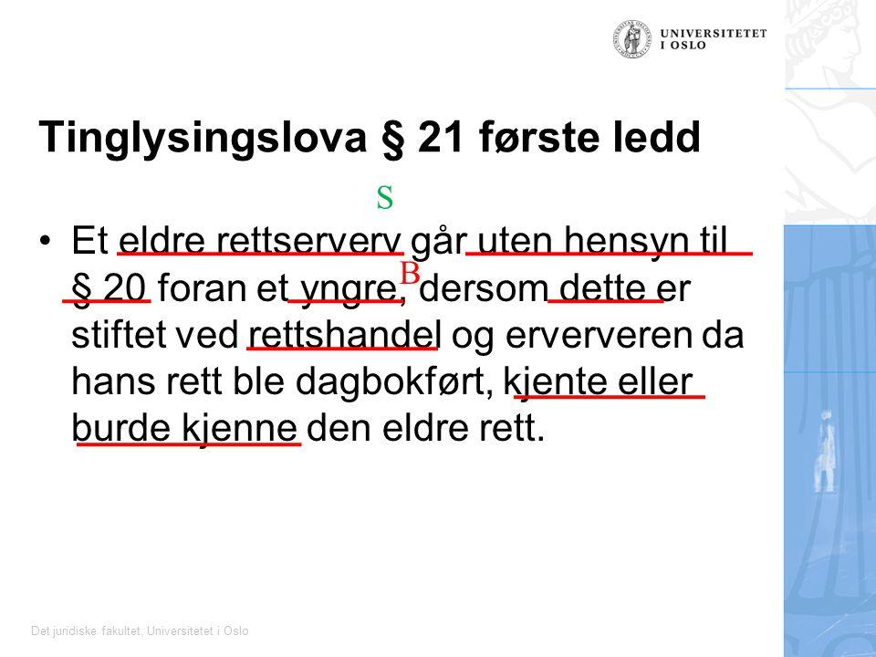 Det juridiske fakultet, Universitetet i Oslo Tinglysingslova § 21 første ledd Et eldre rettserverv går uten hensyn til § 20 foran et yngre, dersom dette er stiftet ved rettshandel og erververen da hans rett ble dagbokført, kjente eller burde kjenne den eldre rett.