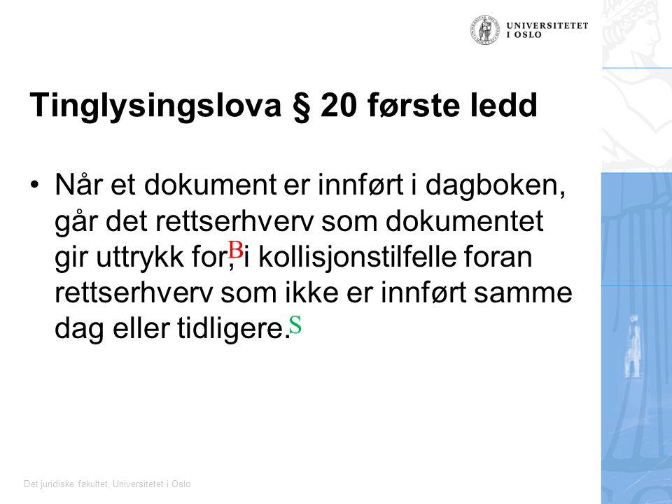 Det juridiske fakultet, Universitetet i Oslo Tinglysingslova § 20 første ledd Når et dokument er innført i dagboken, går det rettserhverv som dokumentet gir uttrykk for, i kollisjonstilfelle foran rettserhverv som ikke er innført samme dag eller tidligere.