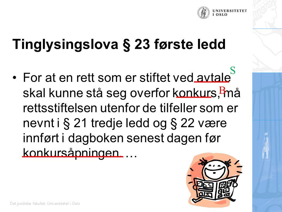 Det juridiske fakultet, Universitetet i Oslo Tinglysingslova § 23 første ledd For at en rett som er stiftet ved avtale skal kunne stå seg overfor konkurs, må rettsstiftelsen utenfor de tilfeller som er nevnt i § 21 tredje ledd og § 22 være innført i dagboken senest dagen før konkursåpningen.