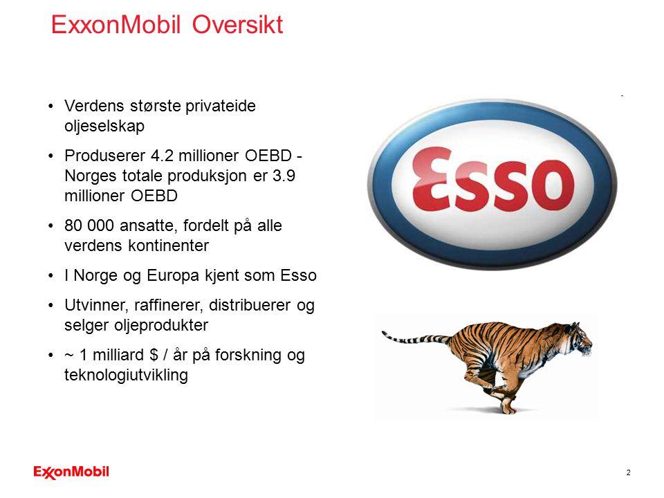 2 ExxonMobil Oversikt Verdens største privateide oljeselskap Produserer 4.2 millioner OEBD - Norges totale produksjon er 3.9 millioner OEBD 80 000 ans
