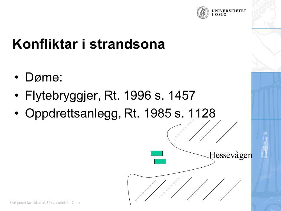 Det juridiske fakultet, Universitetet i Oslo Konfliktar i strandsona Døme: Flytebryggjer, Rt. 1996 s. 1457 Oppdrettsanlegg, Rt. 1985 s. 1128 Hessevåge