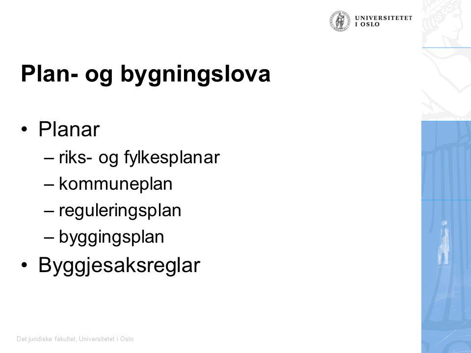 Det juridiske fakultet, Universitetet i Oslo Plan- og bygningslova Planar –riks- og fylkesplanar –kommuneplan –reguleringsplan –byggingsplan Byggjesak