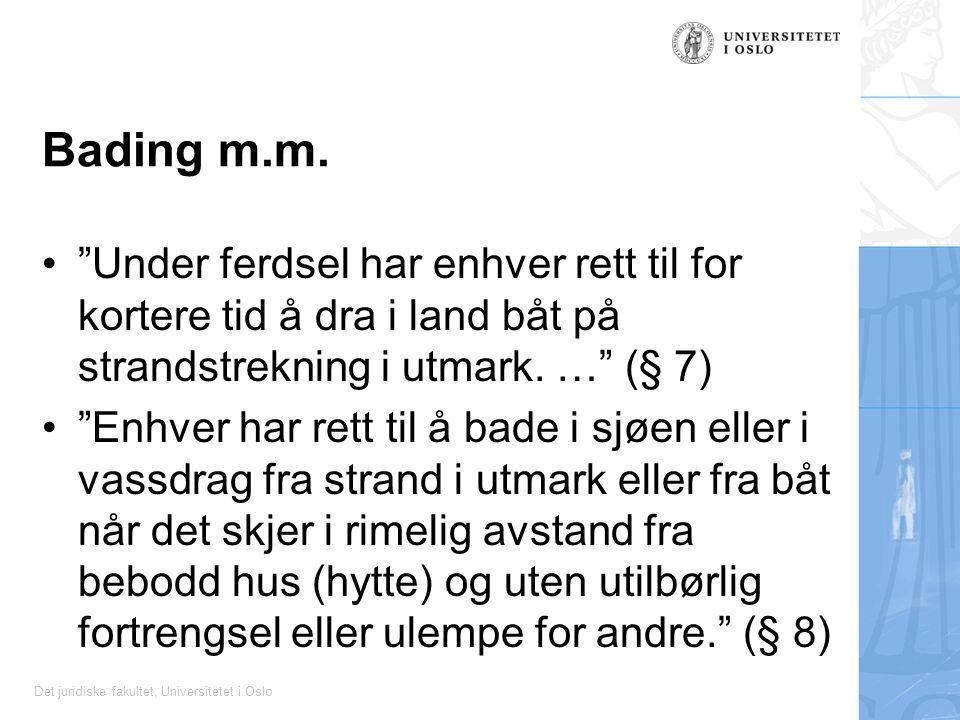 """Det juridiske fakultet, Universitetet i Oslo Bading m.m. """"Under ferdsel har enhver rett til for kortere tid å dra i land båt på strandstrekning i utma"""