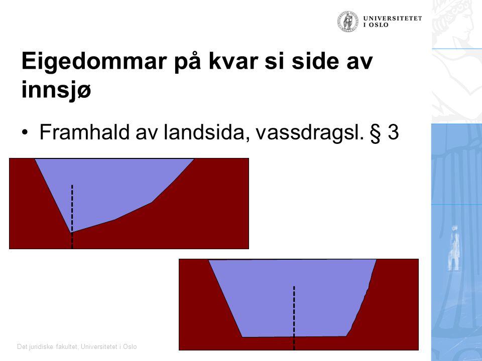 Det juridiske fakultet, Universitetet i Oslo Eigedommar på kvar si side av innsjø Framhald av landsida, vassdragsl. § 3