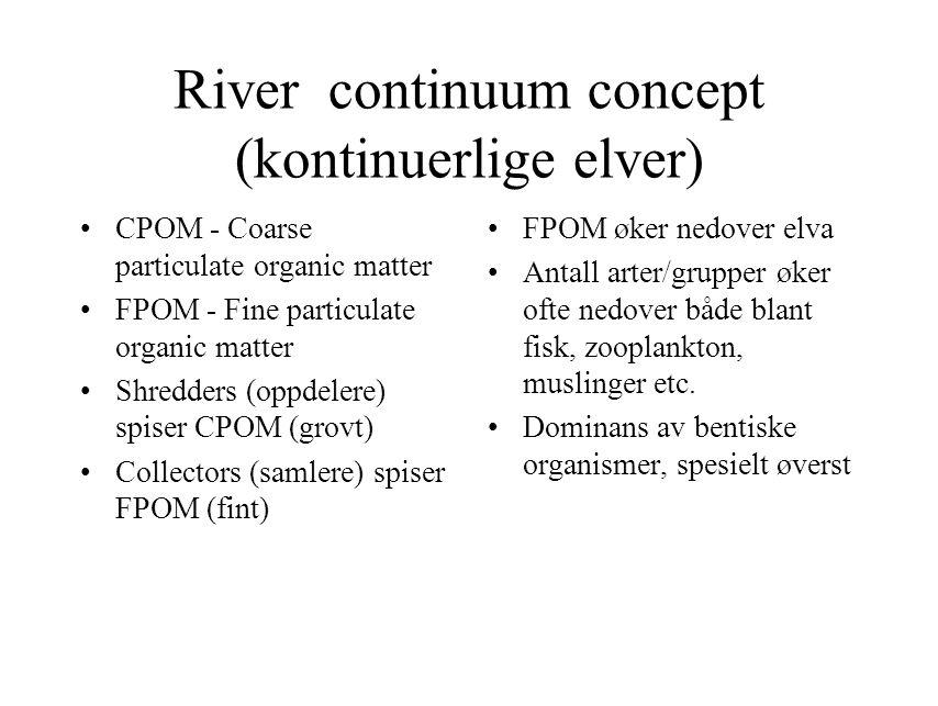 River continuum concept (kontinuerlige elver) CPOM - Coarse particulate organic matter FPOM - Fine particulate organic matter Shredders (oppdelere) sp