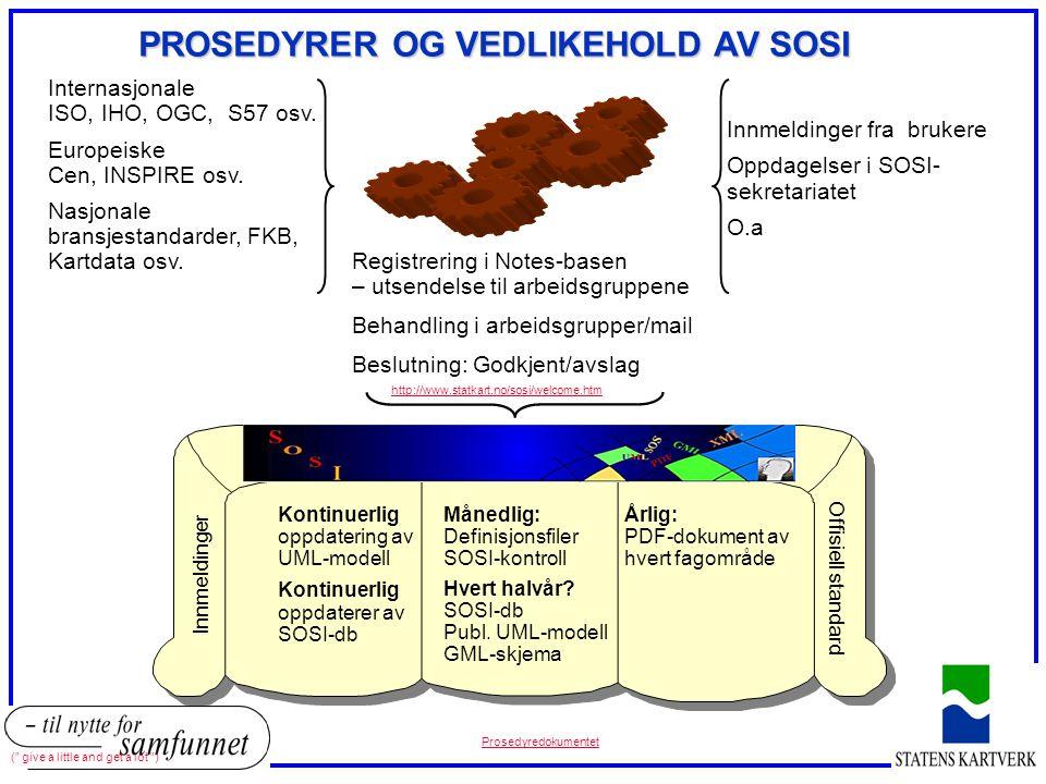 Internasjonale ISO, IHO, OGC, S57 osv. Europeiske Cen, INSPIRE osv. Nasjonale bransjestandarder, FKB, Kartdata osv. Innmeldinger fra brukere Oppdagels