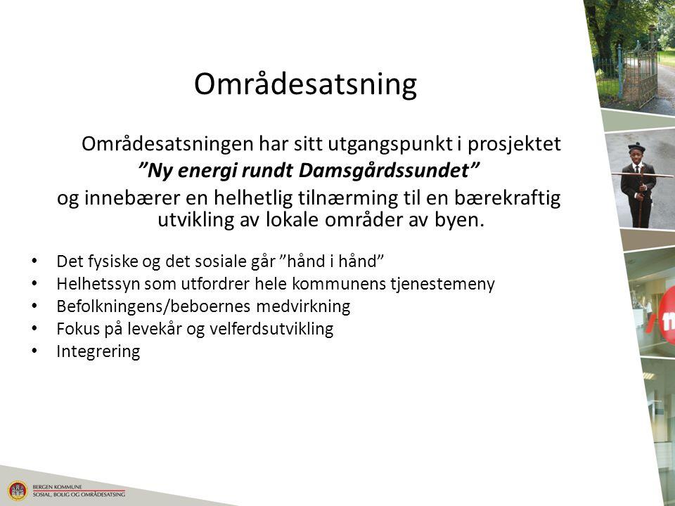 """Områdesatsning Områdesatsningen har sitt utgangspunkt i prosjektet """"Ny energi rundt Damsgårdssundet"""" og innebærer en helhetlig tilnærming til en bærek"""