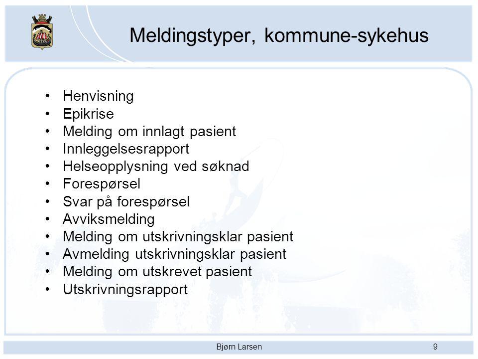 Bjørn Larsen9 Meldingstyper, kommune-sykehus Henvisning Epikrise Melding om innlagt pasient Innleggelsesrapport Helseopplysning ved søknad Forespørsel