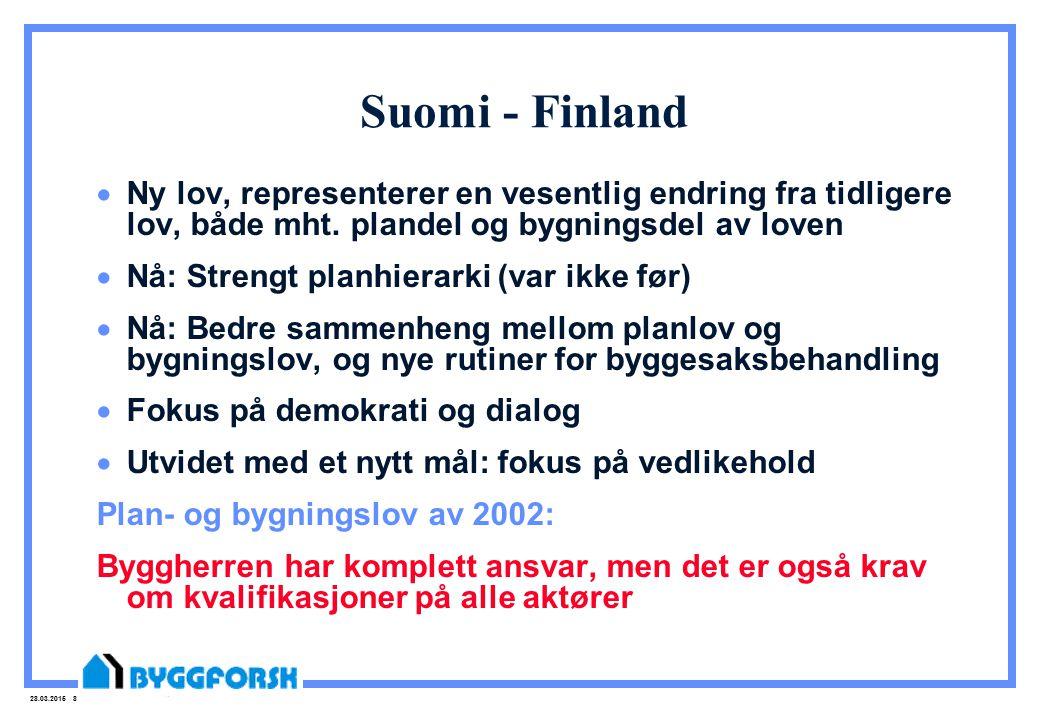 28.03.2015 8 Suomi - Finland  Ny lov, representerer en vesentlig endring fra tidligere lov, både mht. plandel og bygningsdel av loven  Nå: Strengt p