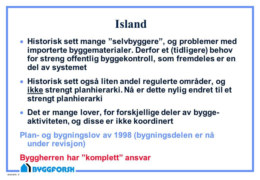 """28.03.2015 9 Island  Historisk sett mange """"selvbyggere"""", og problemer med importerte byggematerialer. Derfor et (tidligere) behov for streng offentli"""