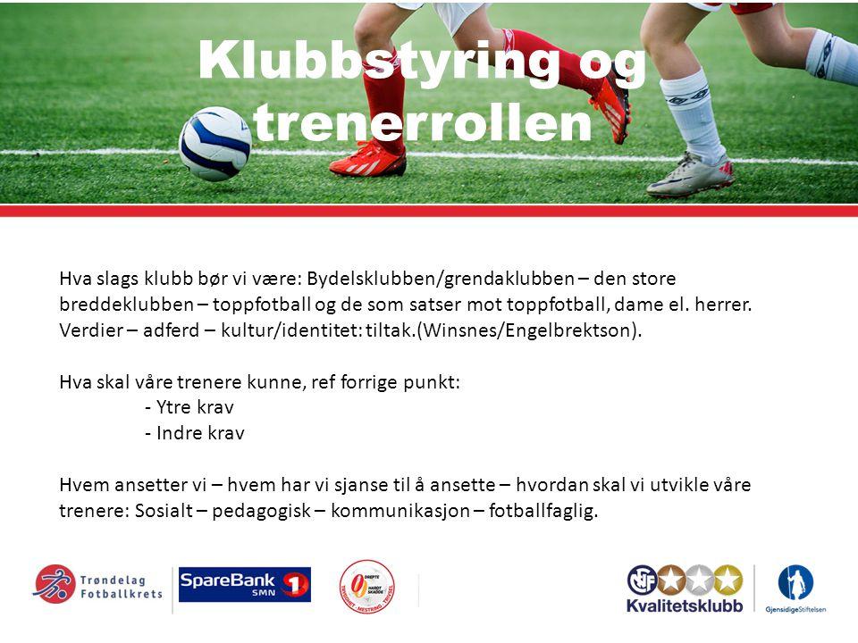 KLUBBENS VERDIMANIFEST Klubbens visjon, verdier og målsettinger -Kommer det tydelig fram hvilken klubb vi er .