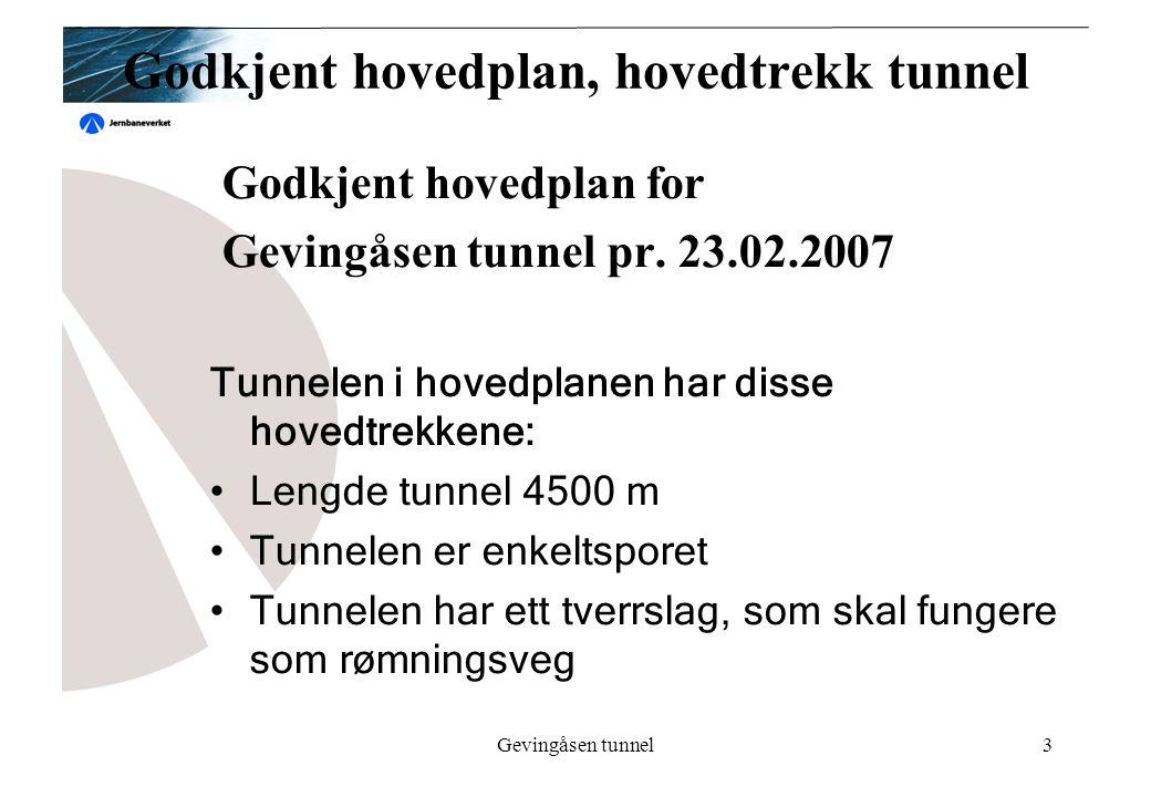 Gevingåsen tunnel3 Godkjent hovedplan, hovedtrekk tunnel Godkjent hovedplan for Gevingåsen tunnel pr. 23.02.2007 Tunnelen i hovedplanen har disse hove