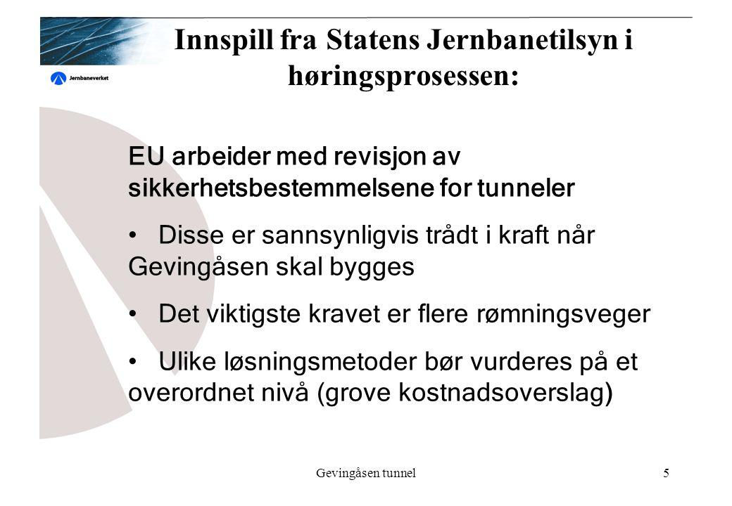 Gevingåsen tunnel5 Innspill fra Statens Jernbanetilsyn i høringsprosessen: EU arbeider med revisjon av sikkerhetsbestemmelsene for tunneler Disse er sannsynligvis trådt i kraft når Gevingåsen skal bygges Det viktigste kravet er flere rømningsveger Ulike løsningsmetoder bør vurderes på et overordnet nivå (grove kostnadsoverslag)