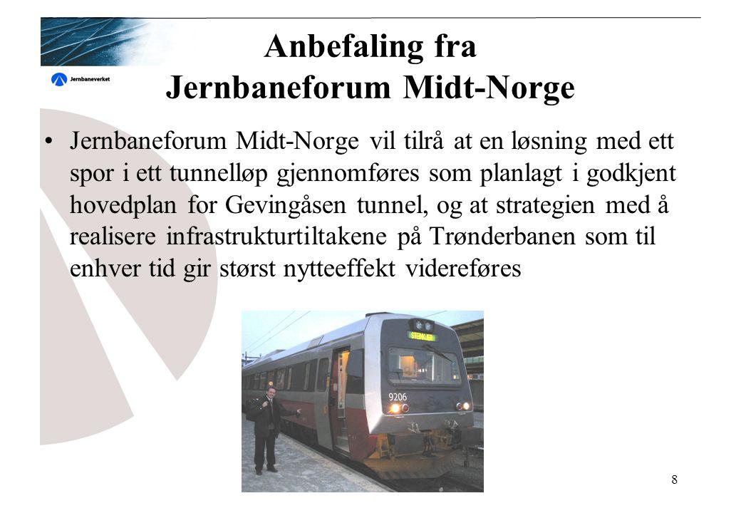 Gevingåsen tunnel8 Anbefaling fra Jernbaneforum Midt-Norge Jernbaneforum Midt-Norge vil tilrå at en løsning med ett spor i ett tunnelløp gjennomføres som planlagt i godkjent hovedplan for Gevingåsen tunnel, og at strategien med å realisere infrastrukturtiltakene på Trønderbanen som til enhver tid gir størst nytteeffekt videreføres