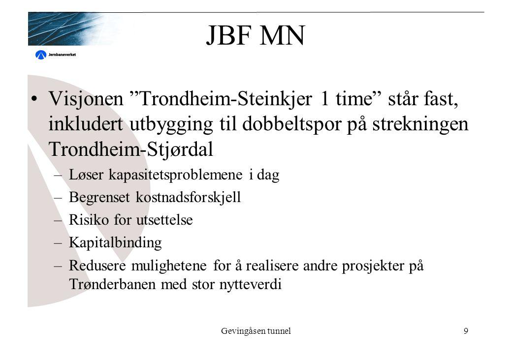 Gevingåsen tunnel9 JBF MN Visjonen Trondheim-Steinkjer 1 time står fast, inkludert utbygging til dobbeltspor på strekningen Trondheim-Stjørdal –Løser kapasitetsproblemene i dag –Begrenset kostnadsforskjell –Risiko for utsettelse –Kapitalbinding –Redusere mulighetene for å realisere andre prosjekter på Trønderbanen med stor nytteverdi