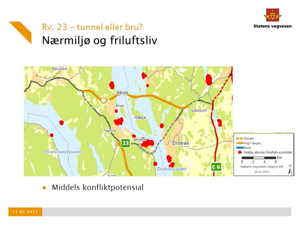 Nærmiljø og friluftsliv Rv. 23 – tunnel eller bru? 11.02.2015 ● Middels konfliktpotensial