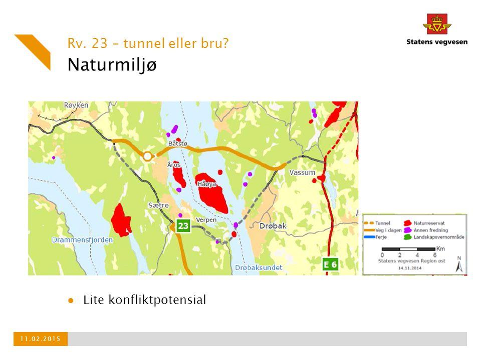 Naturmiljø Rv. 23 – tunnel eller bru? 11.02.2015 ● Lite konfliktpotensial