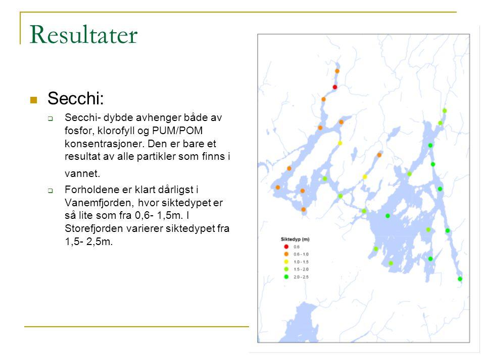 Resultater Secchi:  Secchi- dybde avhenger både av fosfor, klorofyll og PUM/POM konsentrasjoner. Den er bare et resultat av alle partikler som finns