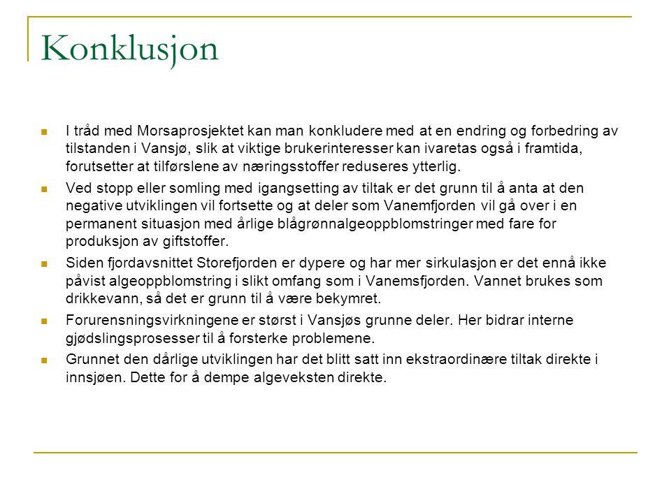 Konklusjon I tråd med Morsaprosjektet kan man konkludere med at en endring og forbedring av tilstanden i Vansjø, slik at viktige brukerinteresser kan