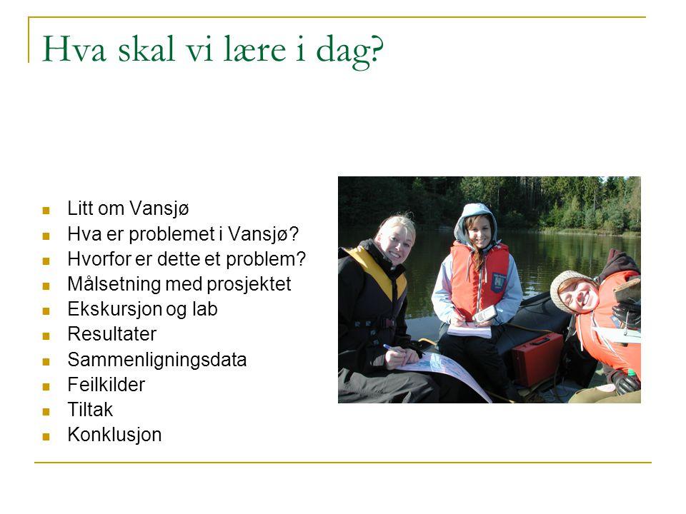 Hva skal vi lære i dag? Litt om Vansjø Hva er problemet i Vansjø? Hvorfor er dette et problem? Målsetning med prosjektet Ekskursjon og lab Resultater
