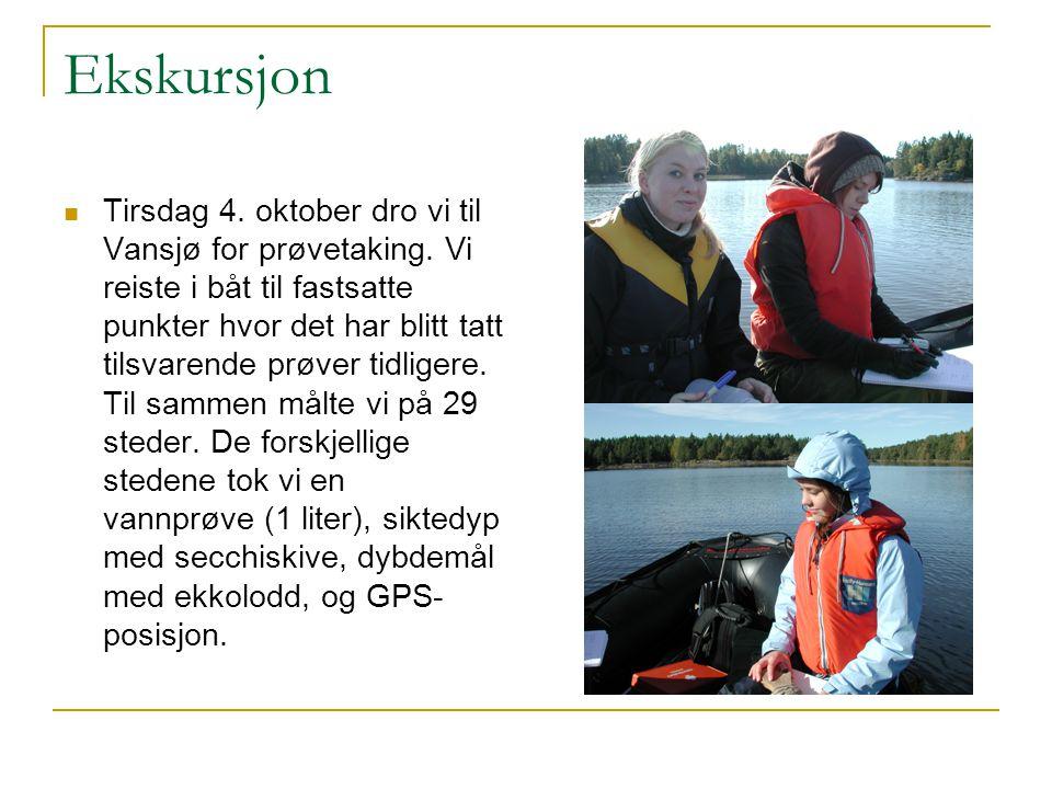Ekskursjon Tirsdag 4. oktober dro vi til Vansjø for prøvetaking. Vi reiste i båt til fastsatte punkter hvor det har blitt tatt tilsvarende prøver tidl