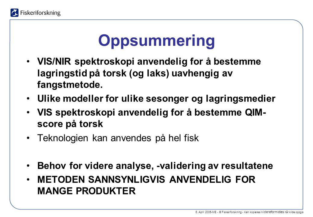 6. April 2005-ME - © Fiskeriforskning - Kan kopieres/ videreformidles når kilde oppgis Oppsummering VIS/NIR spektroskopi anvendelig for å bestemme lag