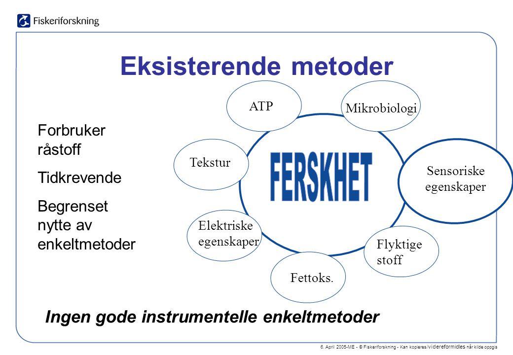6. April 2005-ME - © Fiskeriforskning - Kan kopieres/ videreformidles når kilde oppgis Eksisterende metoder Ingen gode instrumentelle enkeltmetoder Fo