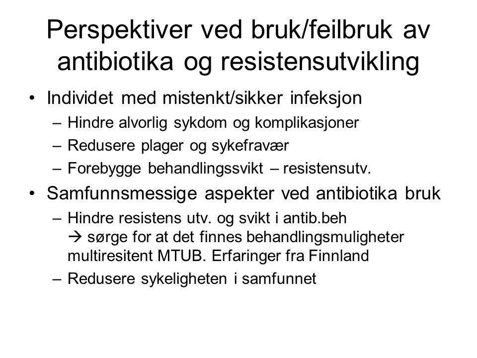 Perspektiver ved bruk/feilbruk av antibiotika og resistensutvikling Individet med mistenkt/sikker infeksjon –Hindre alvorlig sykdom og komplikasjoner –Redusere plager og sykefravær –Forebygge behandlingssvikt – resistensutv.