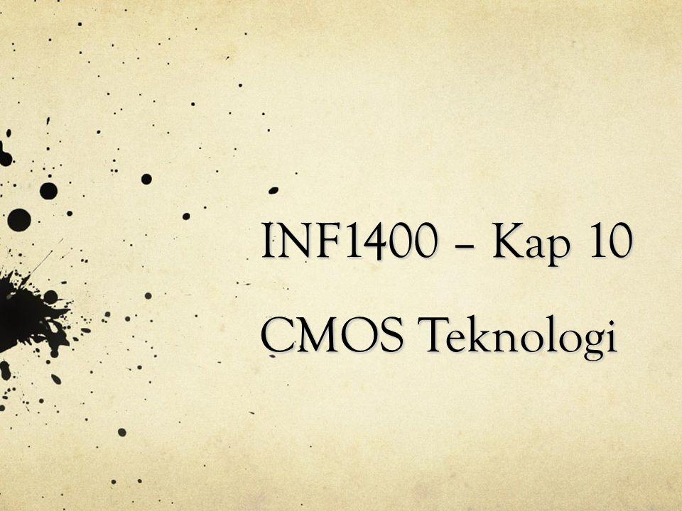 Hovedpunkter MOS transistoren Komplementær MOS (CMOS) CMOS teknologiutvikling CMOS eksempler - Inverter - NAND / NOR - Fulladder