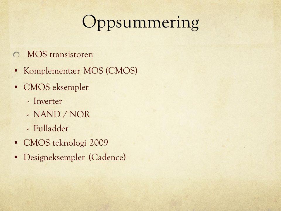 Oppsummering MOS transistoren Komplementær MOS (CMOS) CMOS eksempler CMOS teknologi 2009 Designeksempler (Cadence) - Inverter - NAND / NOR - Fulladder