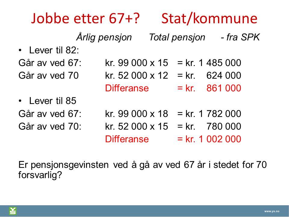 Jobbe etter 67+?Stat/kommune Årlig pensjon Total pensjon - fra SPK Lever til 82: Går av ved 67:kr. 99 000 x 15 = kr. 1 485 000 Går av ved 70kr. 52 000