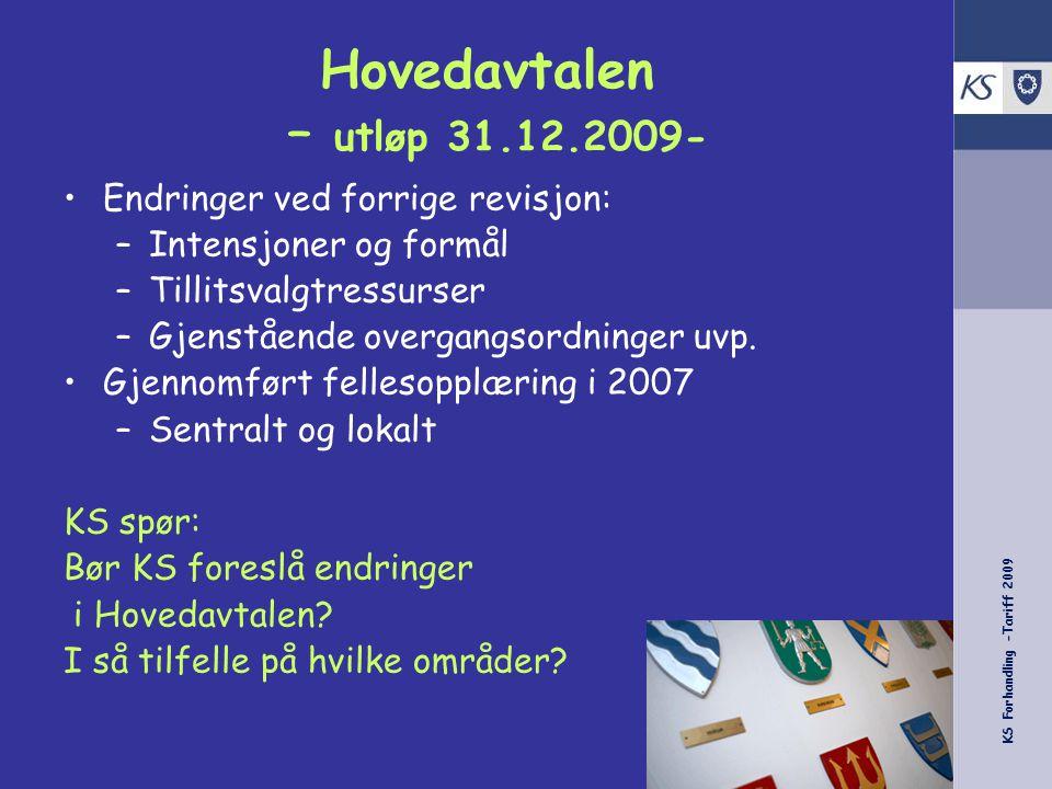 KS Forhandling -Tariff 2009 Hovedavtalen – utløp 31.12.2009- Endringer ved forrige revisjon: –Intensjoner og formål –Tillitsvalgtressurser –Gjenstående overgangsordninger uvp.