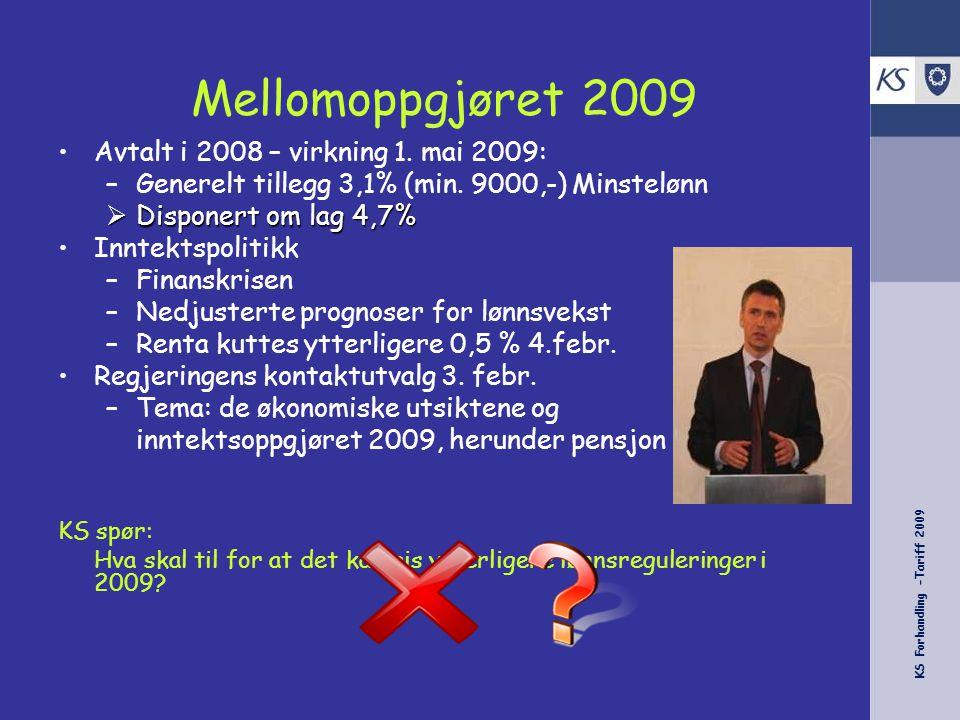 KS Forhandling -Tariff 2009 Foreløpige tall - 2009 Overheng til 20092,3 % Antatt lønnsglidning i 20090,26 % Gen tillegg(m kr 9000/3,1 % pr 1.