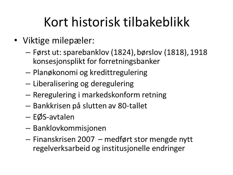 Kort historisk tilbakeblikk Viktige milepæler: – Først ut: sparebanklov (1824), børslov (1818), 1918 konsesjonsplikt for forretningsbanker – Planøkono